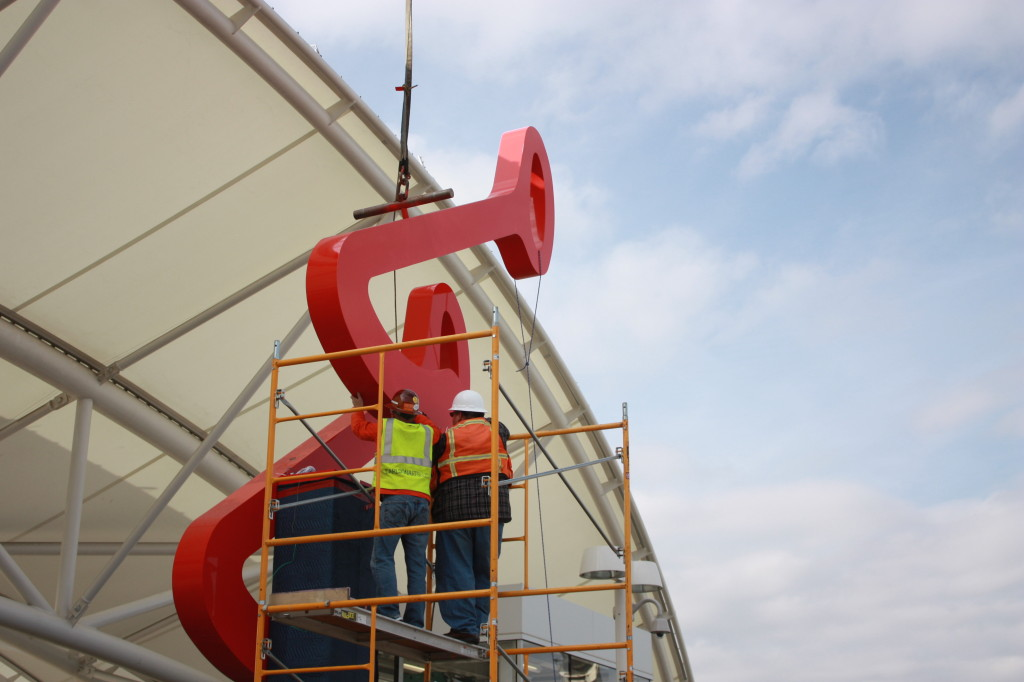 Public art being installed at Union Station on January 29, 2015