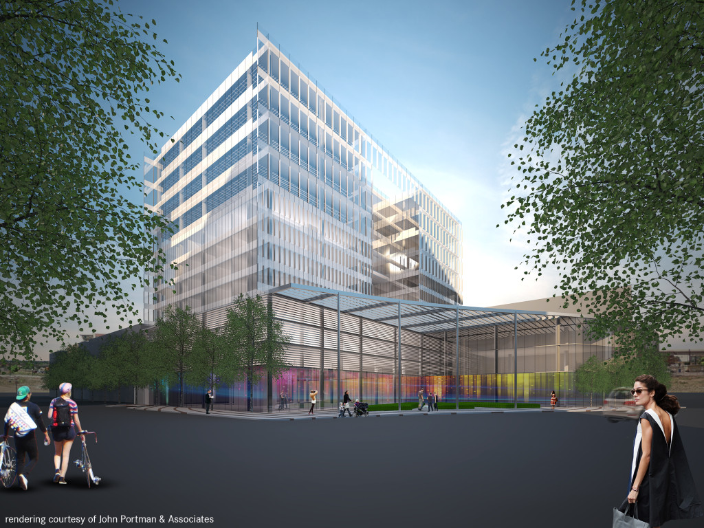 Rendering of the planned mixed-use project for 1801 Wewatta. Image courtesy John Portman & Associates