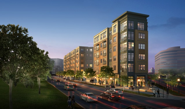 Rendering of apartment project at Speer Blvd. And 6th Ave. Image courtesy Gables Residential