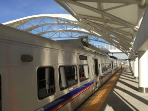 Exterior view of the RTD Commuter Rail Car at Denver's Union Station.