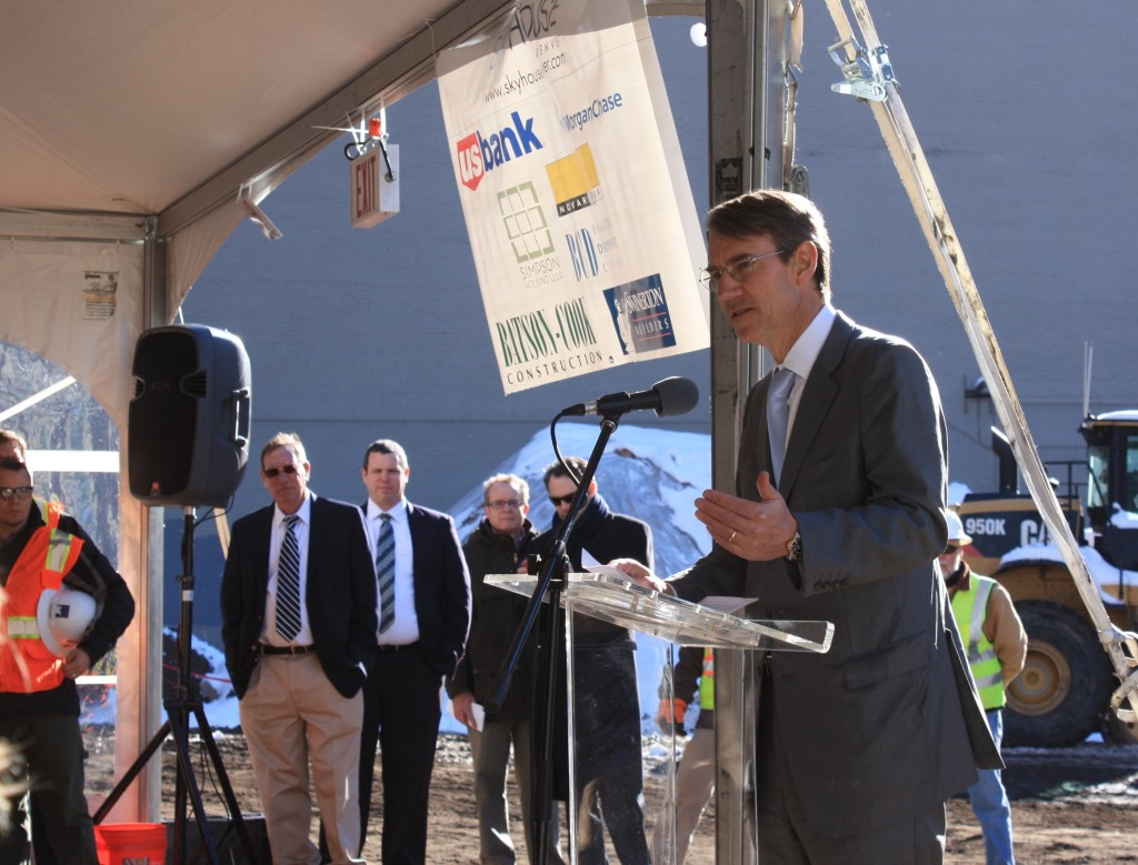 Jim Borders, President and CEO, Novare Group addresses the crowd at the SkyHouse Denver ground breaking Feb. 17, 2015