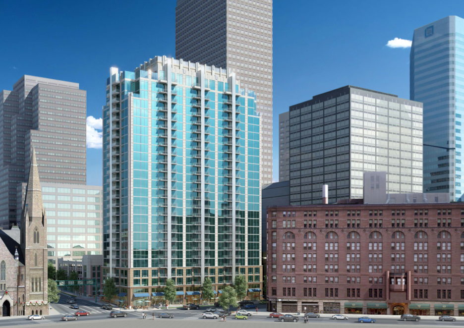 Rendering of the SkyHouse Denver residential high-rise  at 18th and Broadway.