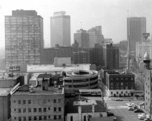 1600 Glenarm when it stood as the Security Life Building. This picture was snapped in March of 1967. 1600 Glenarm is the second tall building from the left in this photo. Image courtesy Denver Public Library.