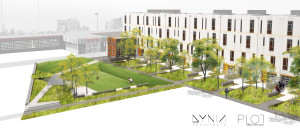 Rendering of Freight Residences. Image courtesy  Zeppelin Development
