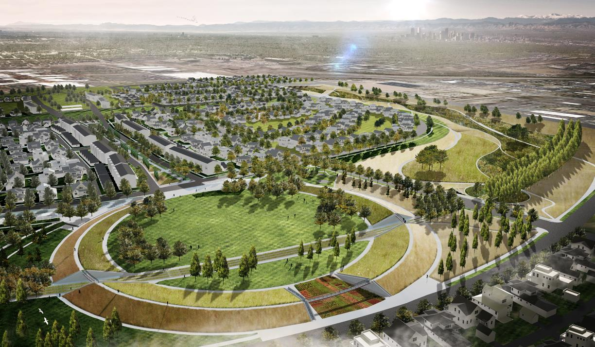 Rendering Of The Stapleton Parks With Native Prairie Landscaping Incorporated Into Project Image Courtesy