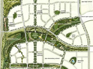 Rendering of Stapleton's network of parks on the north side of I-70. Image courtesy WordenGroup