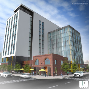 Rendering of the planned Hilton Garden Inn at 20th Street and Chestnut Place in Denver's Union Station Neighborhood. Image courtesy Focus Property Group
