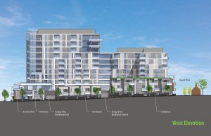 Rendering of the west elevation of the Sloan Lake Condo project. Image courtesy NAVA