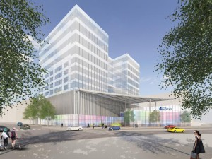 Rendering of Union tower West with Indigo Hotel pictured. Image courtesy Portman Holdings.