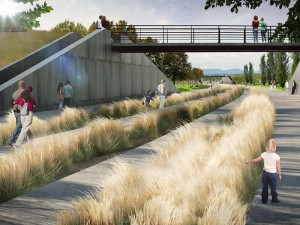 Rendering of Prairie Meadows Park designed by Civitias in Denver's Stapleton neighborhood. Image courtesy WordenGroup