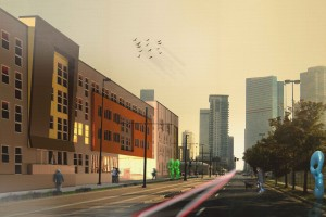 Conceptual rendering of 2300 Welton. Image courtesy Humphries Poli Architects.