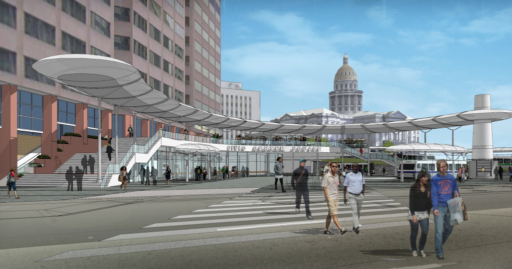 Rendering of Civic Center Station Renovations. Courtesy RTD.
