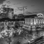 denver architecture downtowndenver train transportation masstransit construction colorado blackandwhitephoto twilighthellip