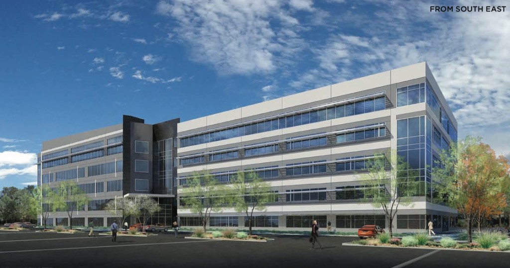 Rendering of office building set to break ground this September at INOVA Dry Creek. Courtesy Newmark Grubb Knight Frank